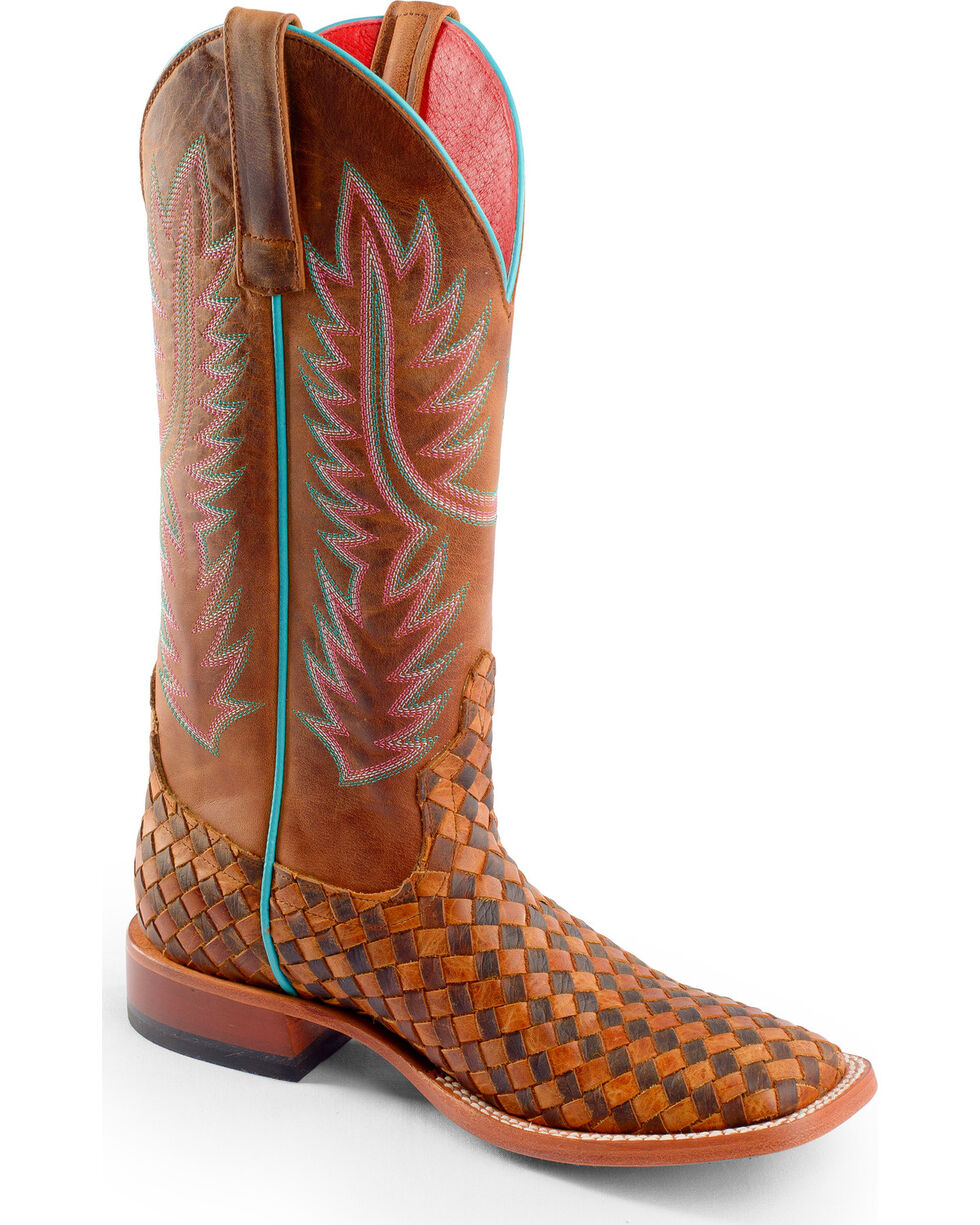 Macie Bean Unbeweavable Cowgirl Boots - Square Toe, Honey, hi-res