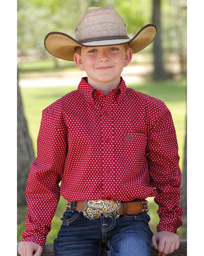 Cinch Boys' Dotted long Sleeve Shirt, Red, hi-res