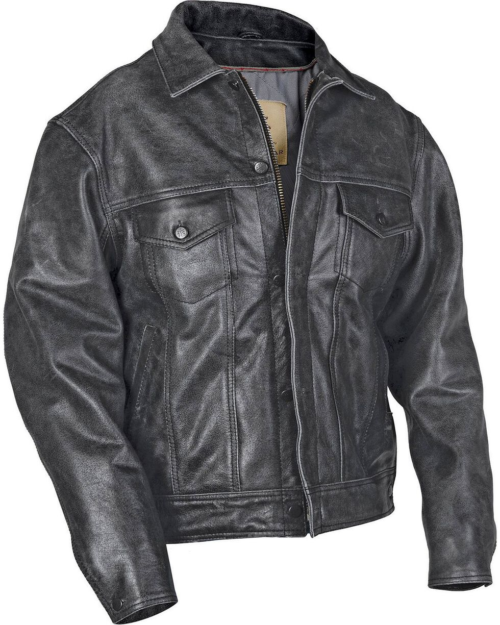 STS Ranchwear Men's Maverick Black Leather Jacket - Big & Tall - 2XL-3XL, , hi-res