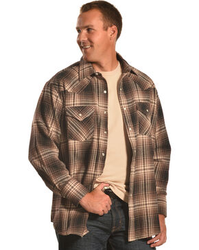 Ely Cattleman Brown Plaid Brawny Flannel Snap Shirt , Brown, hi-res