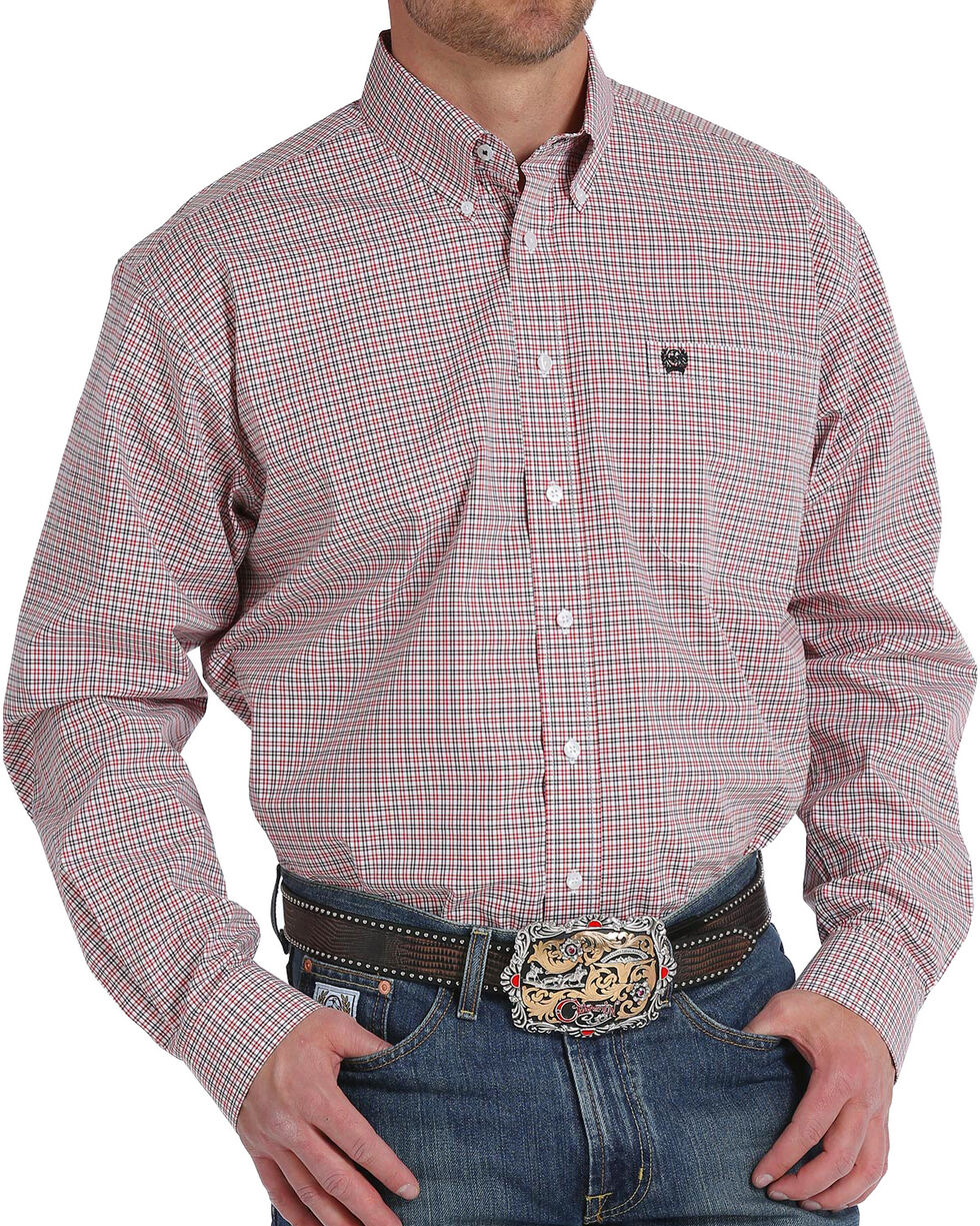 Cinch Men's Plaid Long Sleeve Button Down Shirt, White, hi-res