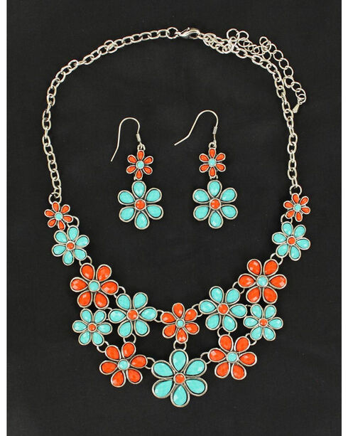 Blazin Roxx Red and Green Daisy Necklace & Earrings Set, Multi, hi-res
