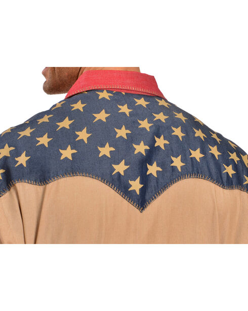 Scully Men's Long Sleeve Patriotic Western Shirt, Tan, hi-res