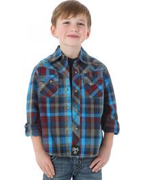 Rock 47 by Wrangler Boy's Plaid Long Sleeve Western Shirt, , hi-res