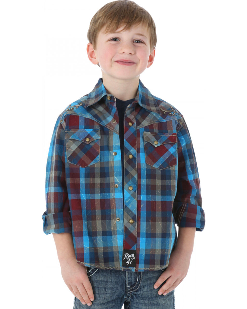 Rock 47 by Wrangler Boy's Plaid Long Sleeve Western Shirt, Blue, hi-res