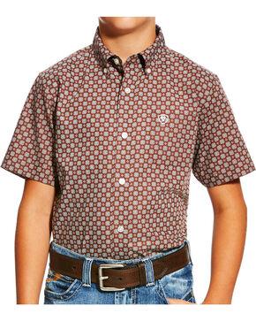 Ariat Boys' Brown Nixon Print Western Shirt , Brown, hi-res