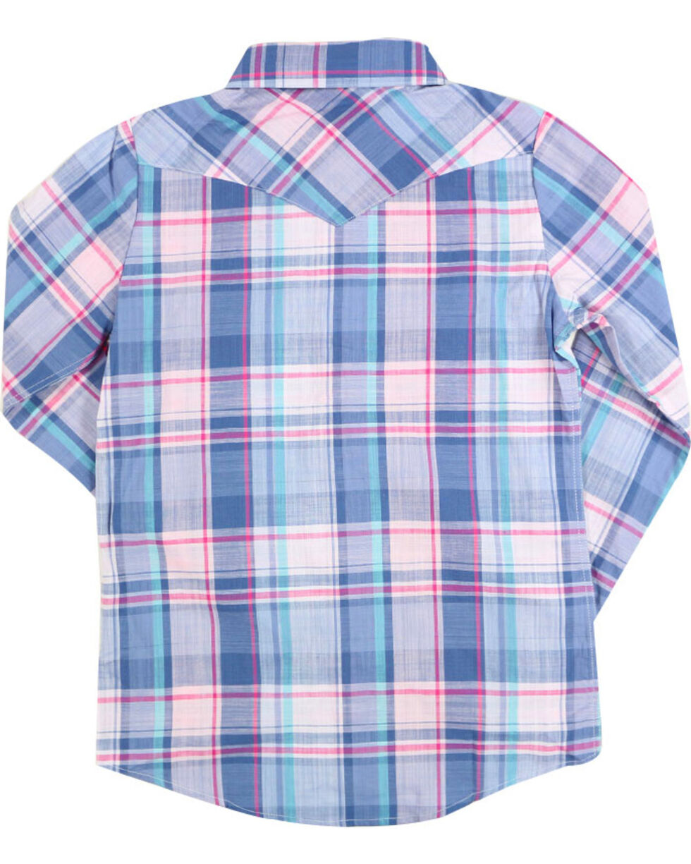 Shyanne® Girls' Horse Embroidered Plaid Long Sleeve Shirt, , hi-res