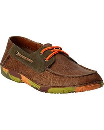 Ariat Boys' Orange & Green Camo Sole Caldwell Boat Shoes , , hi-res