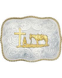 Montana Silversmiths German Silver Christian Cowboy Buckle, , hi-res