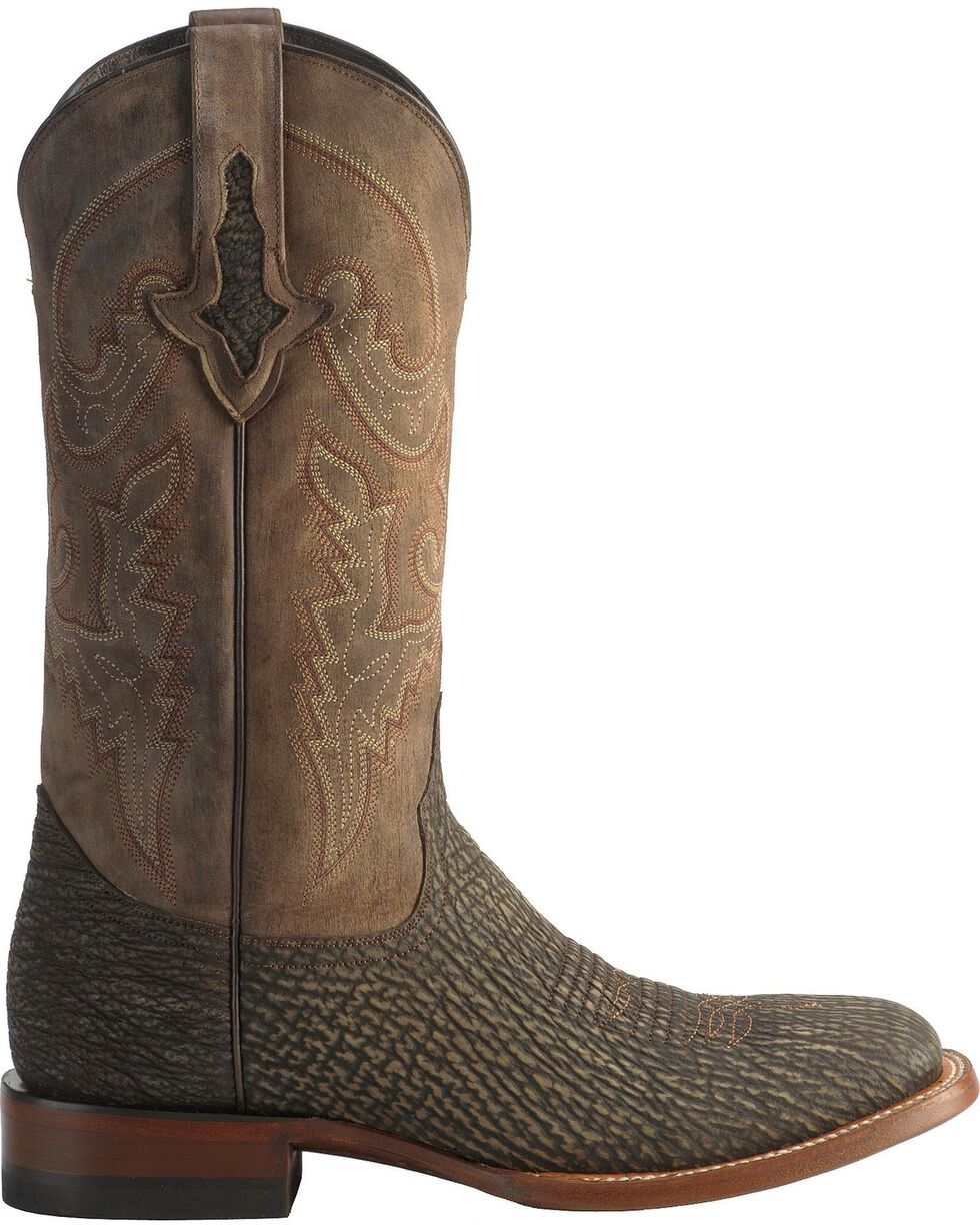 Lucchese Men's Ryan Exotic Shark Western Boots, Chocolate, hi-res