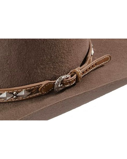 Leather Hair-on-Hide Diamond Conchos with Studs Hat Band, Tan, hi-res