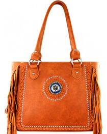 Montana West Brown Fringe Collection Braided Lacing Satchel, , hi-res