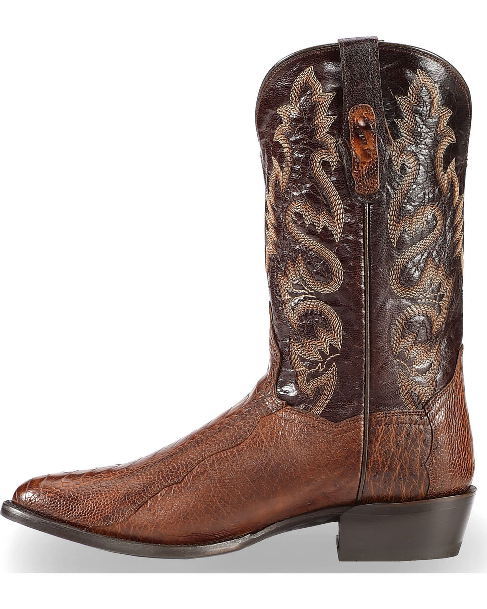 Dan Post Men's Brass Ostrich Leg Cowboy Boots - Round Toe , Dark Brown, hi-res
