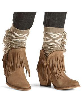 Shyanne Women's Fringe Trimmed Boot Toppers, Natural, hi-res
