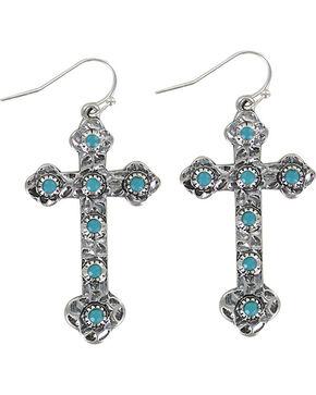 Shyanne® Women's Turquoise Studded Cross Earrings, Silver, hi-res