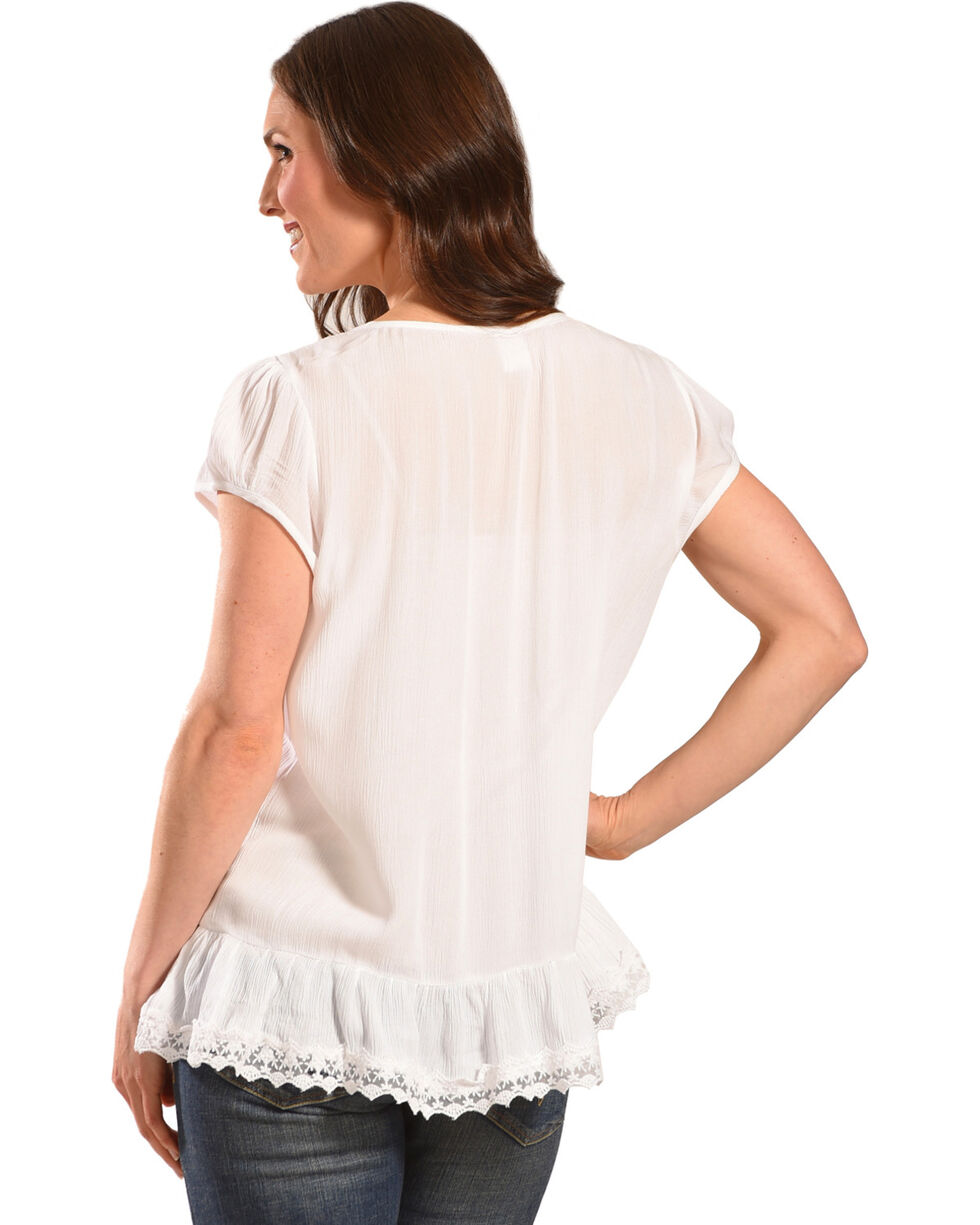 Bila Women's White Eyelet Short Sleeve Blouse , White, hi-res