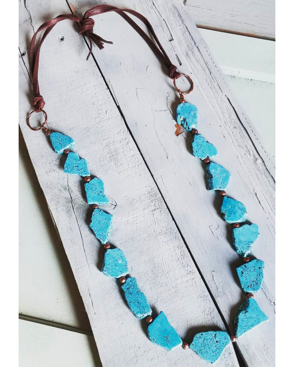Jewelry Junkie Women's Turquoise Slab Necklace , Turquoise, hi-res