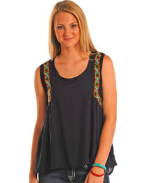 Rock & Roll Cowgirl Women's Hi Lo Tank with Embroidery, , hi-res