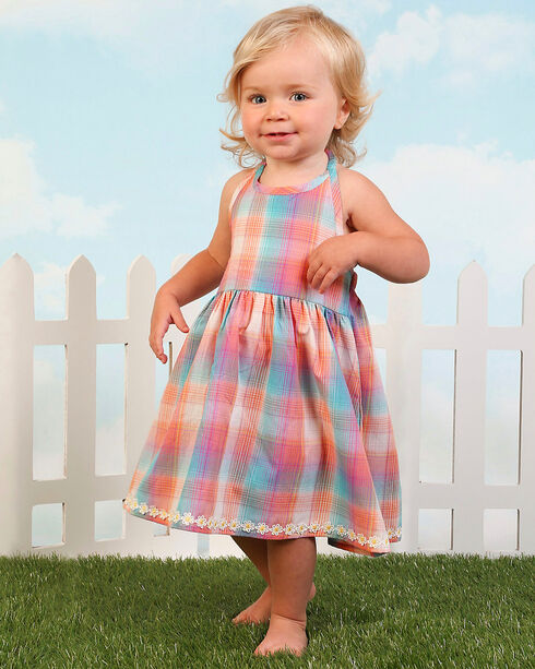 Wrangler Girls' Turquoise Plaid Empire Waist Dress , Turquoise, hi-res