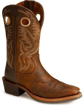 Ariat Heritage Rough Stock Cowboy Boots - SnipToe, Brown, hi-res