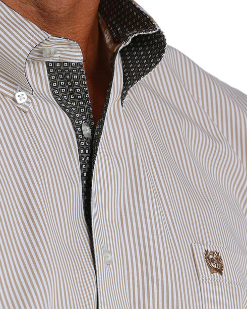 Cinch Men's Tan Striped Long Sleeve Button Down Shirt, Tan, hi-res
