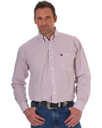 Wrangler Men's Red George Strait Plaid Western Shirt , Red, hi-res