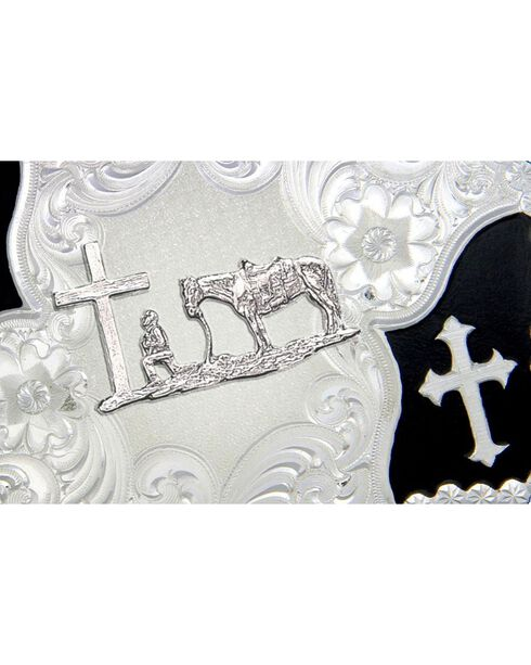 Montana Silversmiths Cross and Christian Cowboy Belt Buckle, Silver, hi-res
