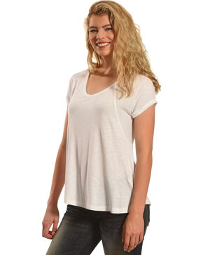 Derek Heart Women's Raglan Cuff Sleeve V-Neck Swing Top, White, hi-res
