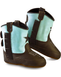 Old West Girls' Infant Brown and Turquoise Poppets  , Brown, hi-res