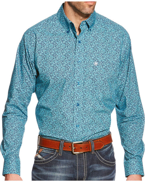 Ariat Men's Walker Print Pro Series Shirt, Med Blue, hi-res