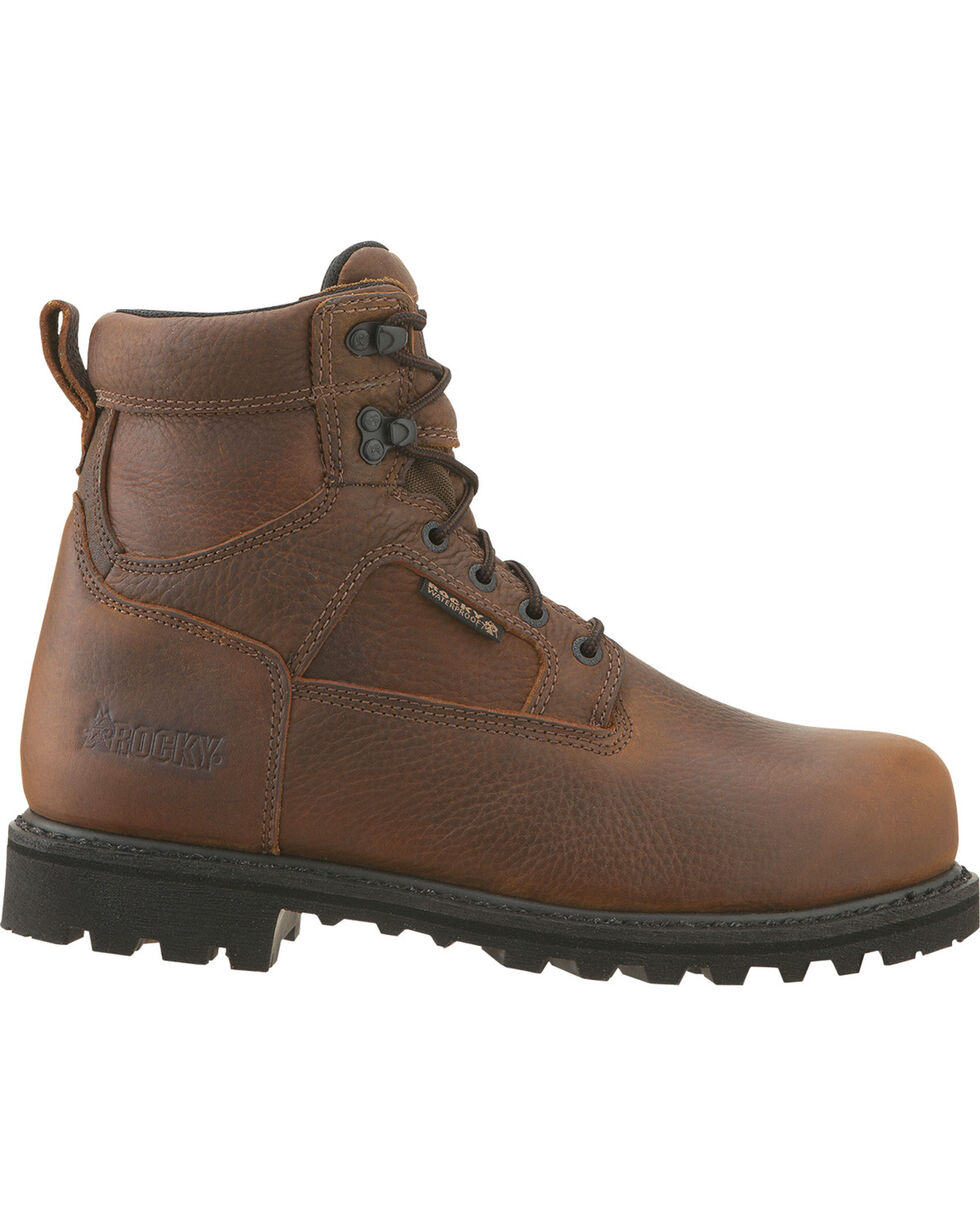 Rocky Men's Steel Toe Exertion Work Boots, Brown, hi-res