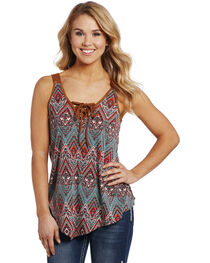 Cowgirl Up Women's Printed Lace-Up Shirt , , hi-res