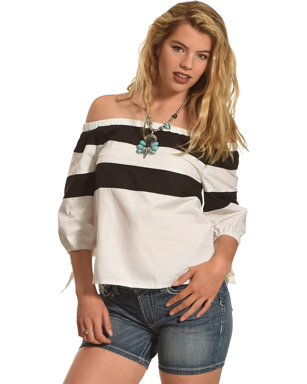 Polagram Women's Off The Shoulder Striped Top , , hi-res