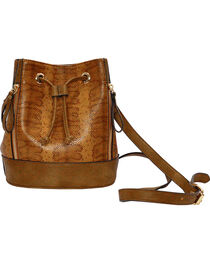 Wear N.E. Wear Women's Brown Drawstring Snakeskin Shoulder Bag, , hi-res