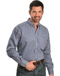 Ariat Men's Woven Plaid Print Fire Resistant Work Shirt, , hi-res