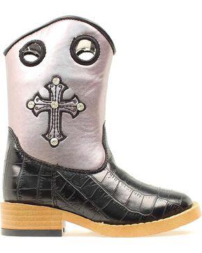 Blazin Roxx Toddler Girls' Sonora Croc Print Zipper Cowgirl Boots - Square Toe, Black, hi-res