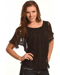 Tantrums Women's Black Lace Peasant Top, , hi-res