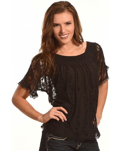 Tantrums Women's Black Lace Peasant Top, Black, hi-res