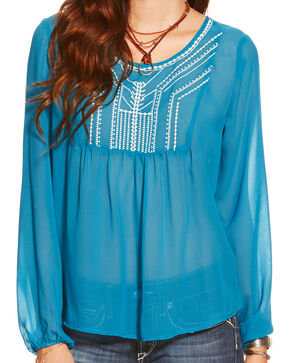 Ariat Women's Molly Embroidered Blouse, Blue, hi-res