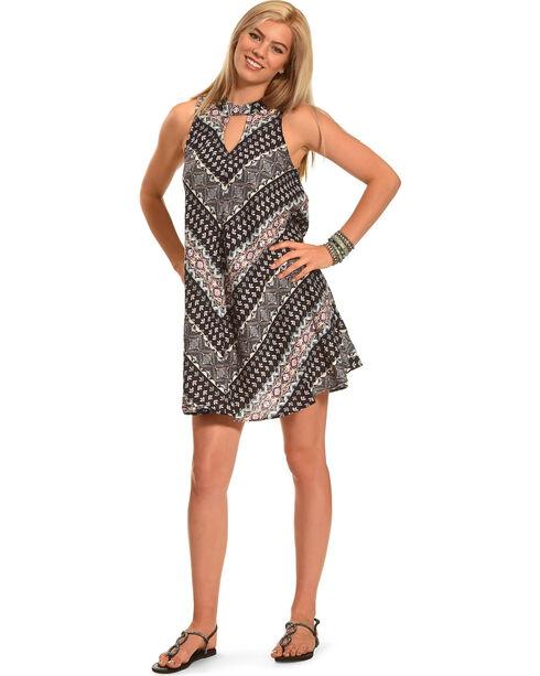 Derek Heart Women's Gigi's Mock Neck Tie Trapeze Dress , Black, hi-res
