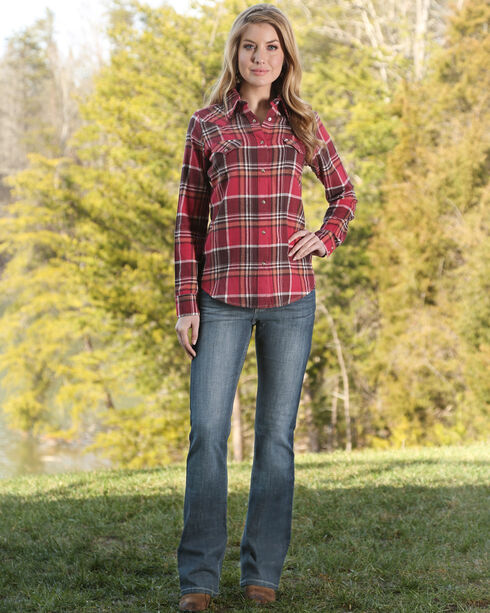 Wrangler Women's Premium Patch Mae Bootcut Jeans, Med Blue, hi-res