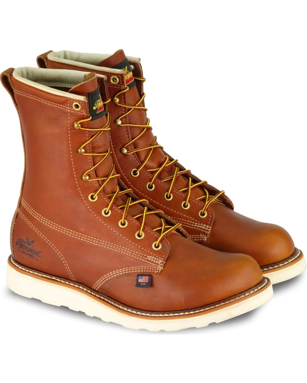 """Thorogood Men's 8"""" American Heritage Waterproof Wedge Work Boots - Soft Toe, Brown, hi-res"""