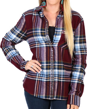 Shyanne Women's Rust Plaid Flannel Stud Pockets Long Sleeve Shirt  , Rust Copper, hi-res