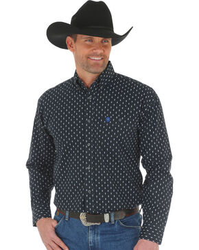 Wrangler Men's George Strait Printed Poplin Shirt - Tall, White, hi-res