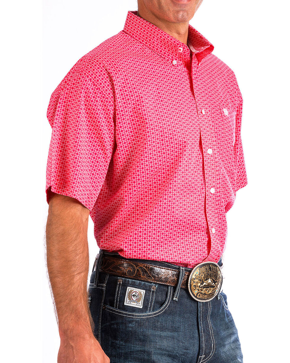 Cinch Men's Pink Print Short Sleeve Button Down Shirt, Pink, hi-res