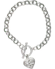 Montana Silversmiths Women's Filigree Heart Bracelet, , hi-res