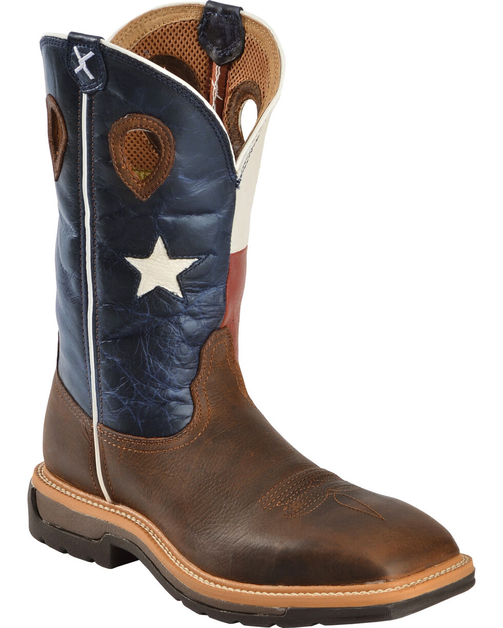 """Twisted X Men's 12"""" Lite Texas Flag Work Boots, Brown, hi-res"""