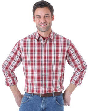 Wrangler Men's Rugged Wear Red Plaid Long Sleeve Shirt, Red, hi-res