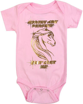 Shyanne Infant Girls' Horses Are Perfect Onesie, Pink, hi-res
