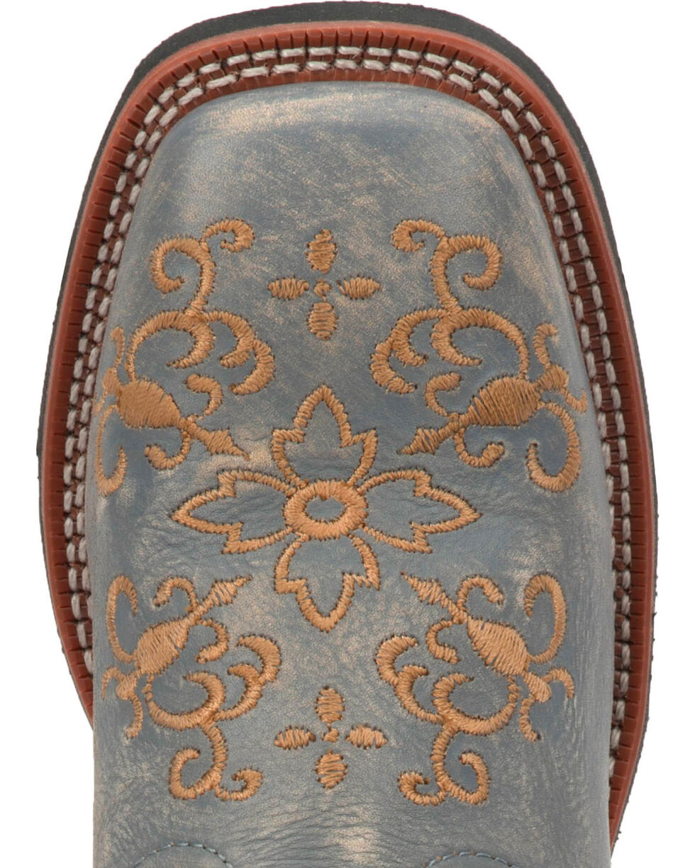 Laredo Women's Coraline Embroidered Cowgirl Boots - Square Toe, Grey, hi-res